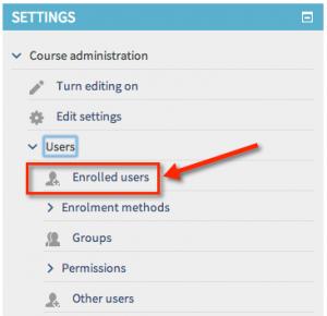 Enrolled users menu item