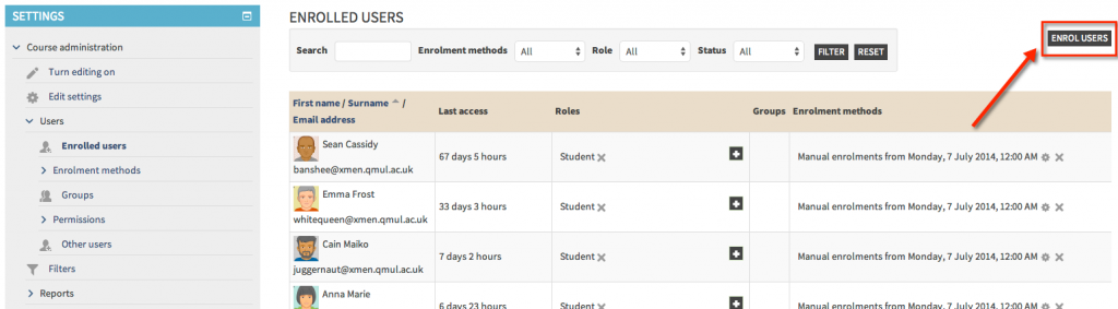 Enrol users button
