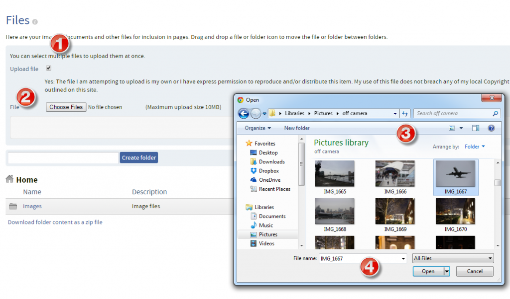 QMplus Hub uploading an image