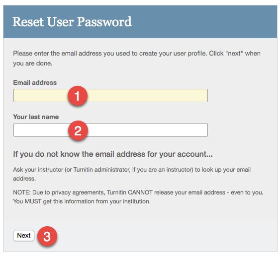 Reset user password dialog on Turnitin