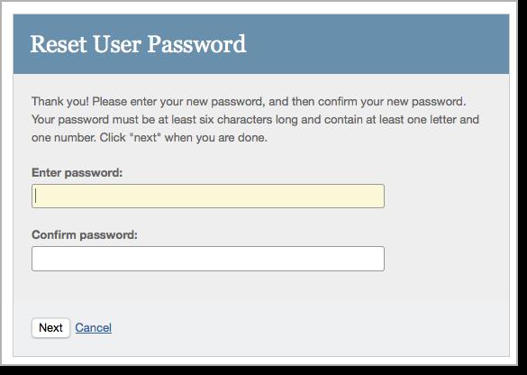 Reset password dialog on Turnitin