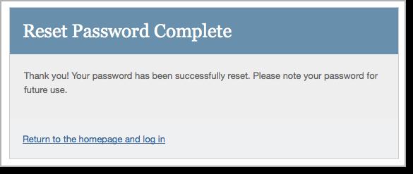 Reset password complete message