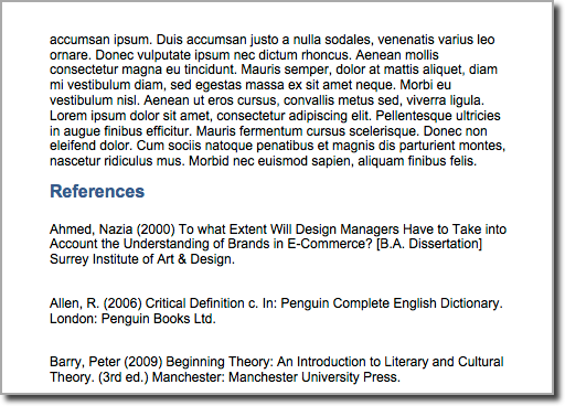 Example of references section