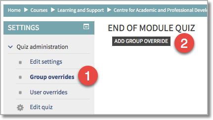 Setting group overrides on quizzes