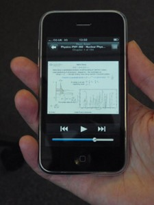 Watching a revision lecture on an iPhone using Q-Review