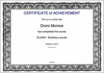 Example Certificate  Certificate Of Achievement Sample