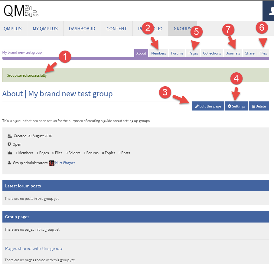 Groups home page