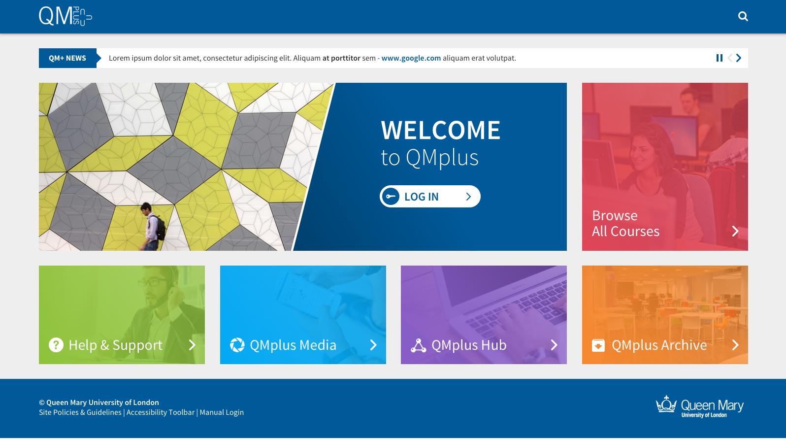 New QMplus Homepage homepage